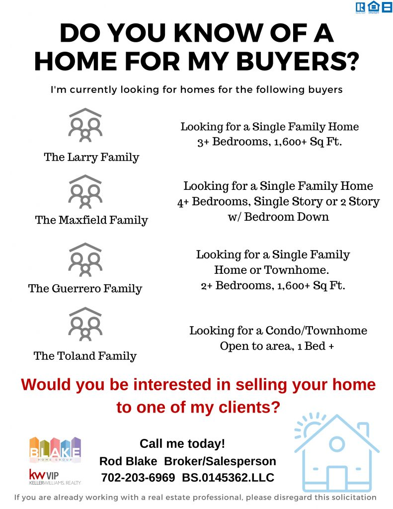 Flyer Describing What Our Buyers are looking for